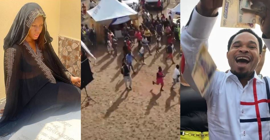Destiny Etiko father's funeral ceremony scatters as Prophet Odumeje and Zubby michael sprays millions