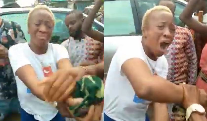 Nigerian Lady caught and beaten after fake bank alert & transfer scam in Edo