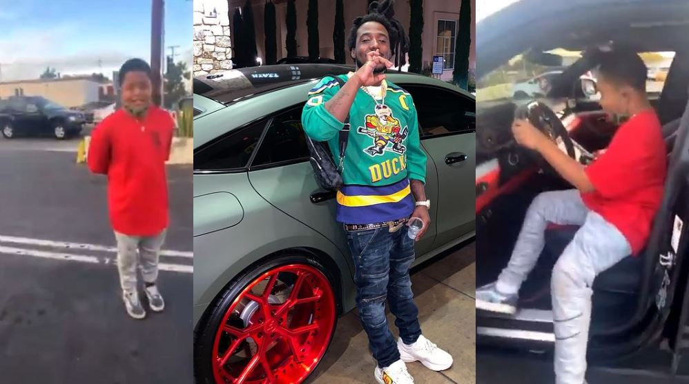 Rapper Mozzy lets young fan check out his Lamborghini