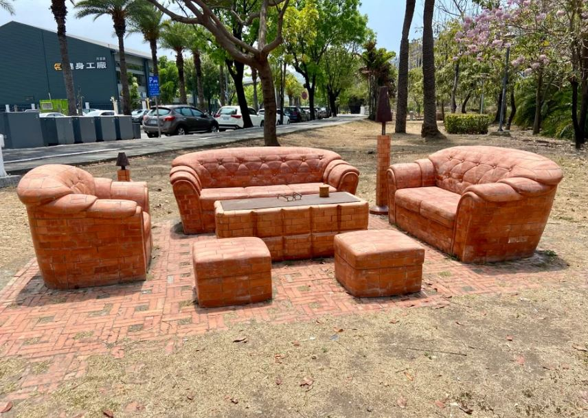 Beautiful Sofa set made out of red bricks