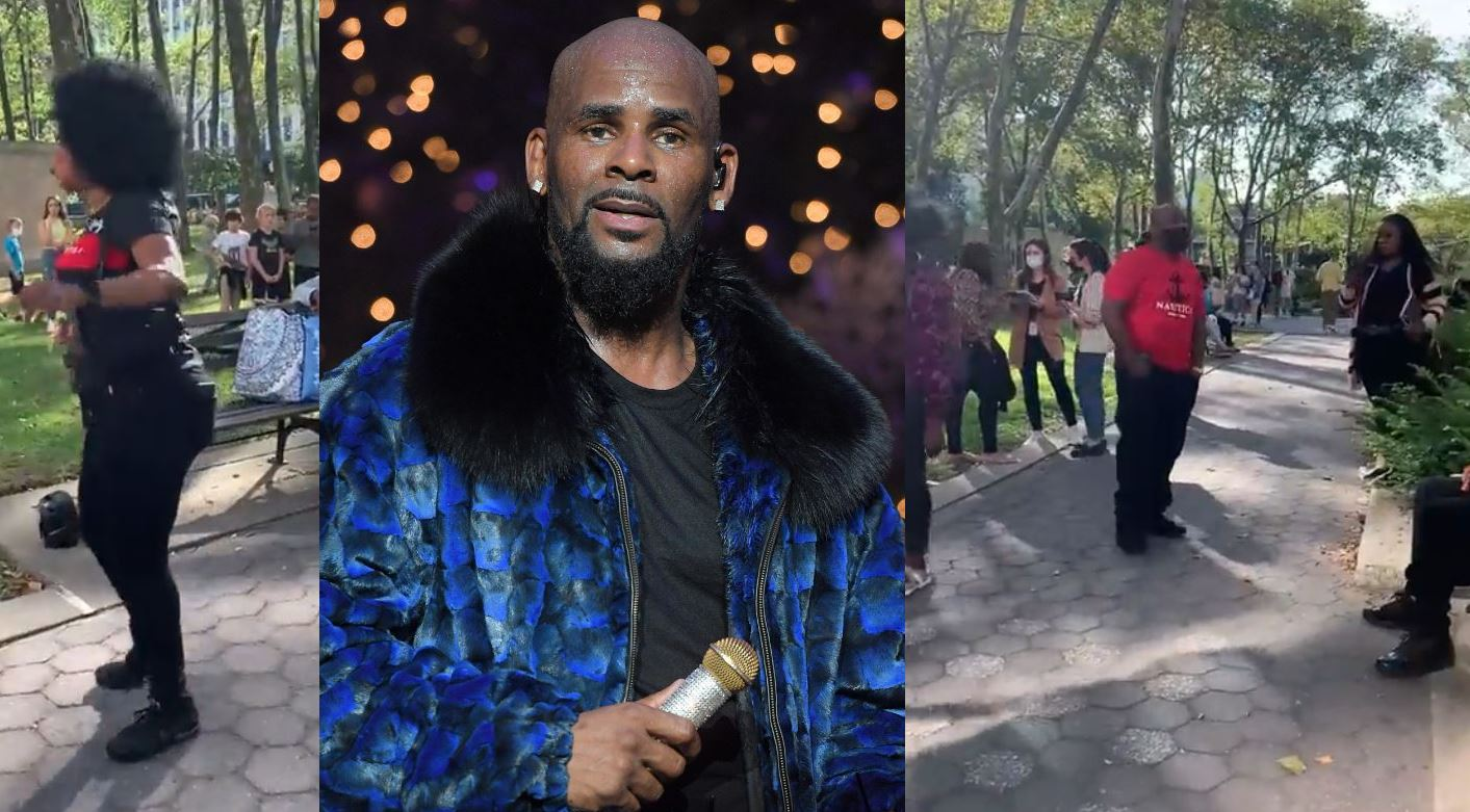 R. Kelly supporters play his music outside of the courthouse