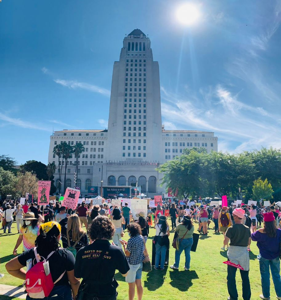 The March for Reproductive Rights at Pershing Square in Downtown, Los Angeles.
